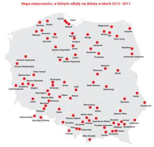 Mapa - debaty lokalne